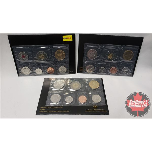 """RCM Uncirculated Coin Sets (3) : 2004 Test Token Set """"The Poppy"""" ; 2005 ; 2006 Special Edition"""