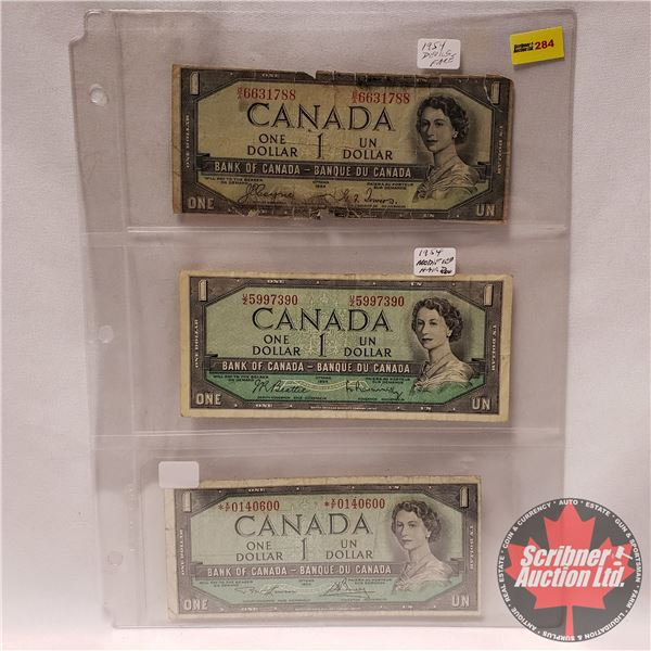 Canada $1 Bills 1954 Varieties (3) : DF, Modified & *Replacement (See Pics for Signatures/Serial Num