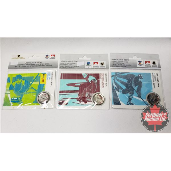 RCM / Petro Canada Collector Coins (3) - Vancouver 2010 : Ice Hockey ; Wheel Chair Curling ; Curling