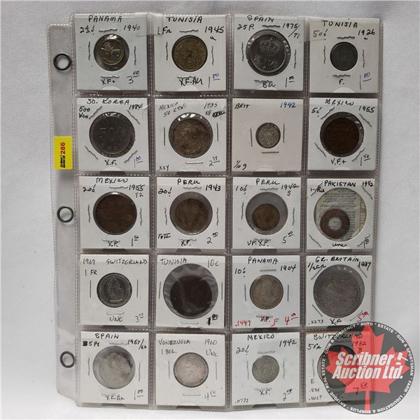 Sheet of Foreign Coins (20): Variety Countries/Years (Panama, Mexico, Great Britain, Switzerland, et