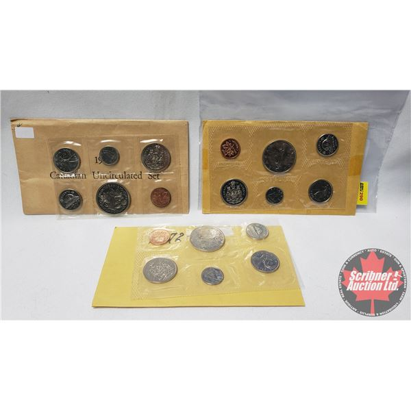 RCM Uncirculated Coin Year Sets (3) : 1968; 1970; 1972