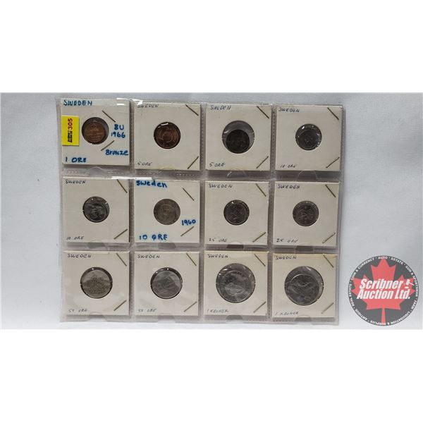 Sheet of Coins - Sweden (12) Kroners / Ore