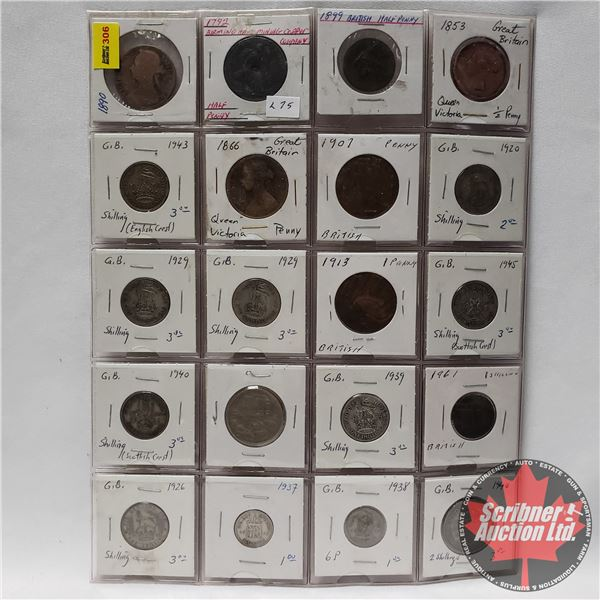 Sheet of Coins - British (20) : 1890; 1792; 1899; 1853; 1943; 1866; 1907; 1920; 1929; 1929; 1913; 19