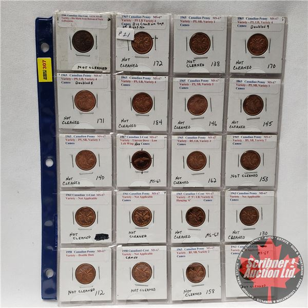 Canada One Cent - Sheet of 20 (See Pics for Years & Varieties)