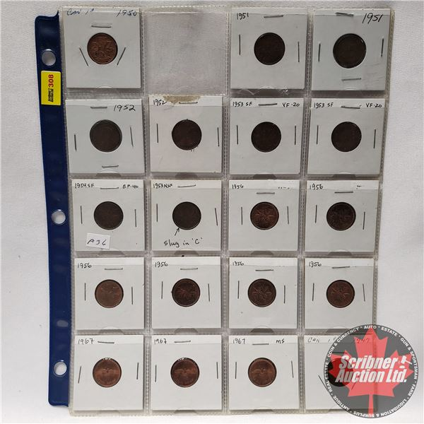 Canada One Cent - Sheet of 19 (See Pics for Years & Varieties)