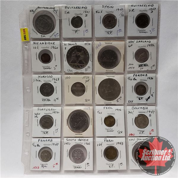 Sheet of Coins - Foreign (20) : Switzerland, Spain, New Zealand, Columbia, Portugal, Peru, Panama, e
