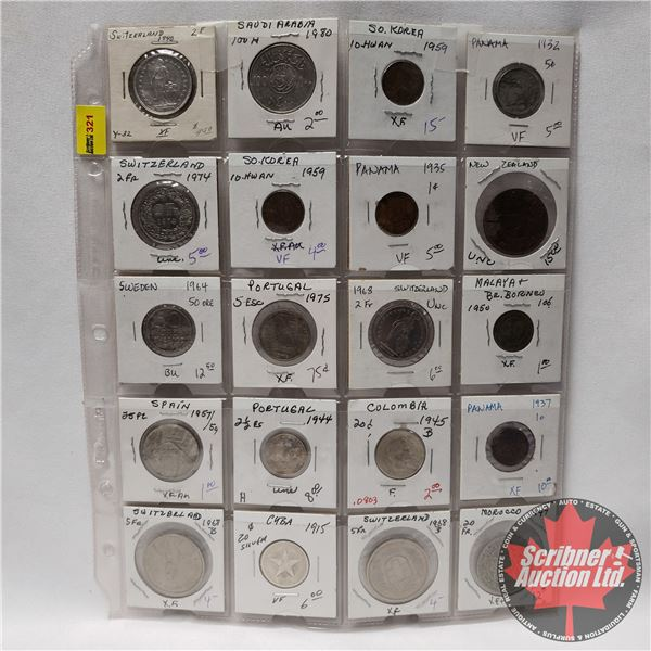 Sheet of Coins - Foreign (20) : Switzerland, Korea, Panama, Portugal, Moroco, Sweden, etc (See Pics