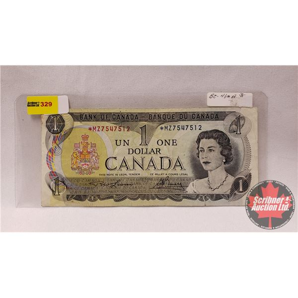 Canada $1 Bill 1973 Replacement : Lawson/Bouey #*MZ7547512