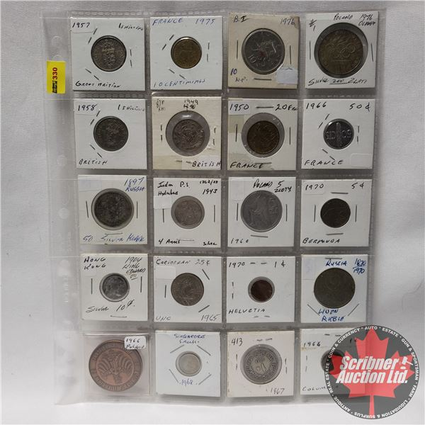 Sheet of Coins - Foreign (20) : France, Russia, Hong Kong, British, etc (See Pics for Years & Variet