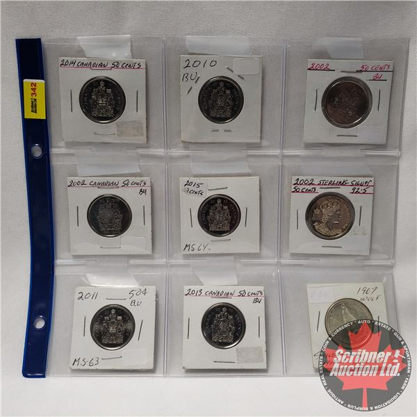Canada Fifty Cent - Sheet of 9: 2014; 2010; 2002; 2002; 2015; 2002; 2011; 2013; 1967
