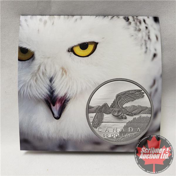 """RCM 2014 Canada $50 Fine Silver Coin """"Snowy Owl"""" (99.99%)"""