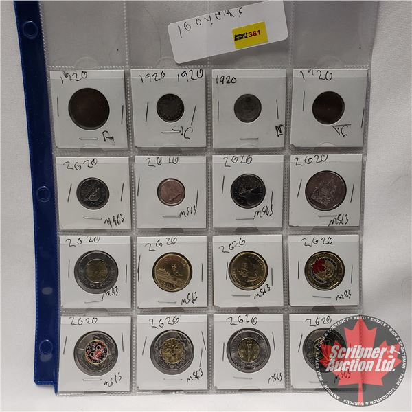 """Canada Coins - Sheet of 16 : """"100 Years"""" (Large Cent 1920; Small Cent 1920; Five Cent 1920; Ten Cent"""