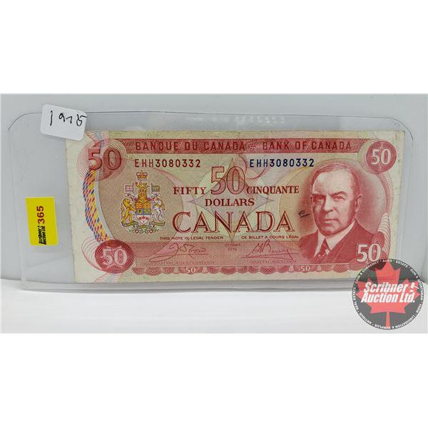 Canada $50 Bill 1975 : Crow/Bouey #EHH3080332