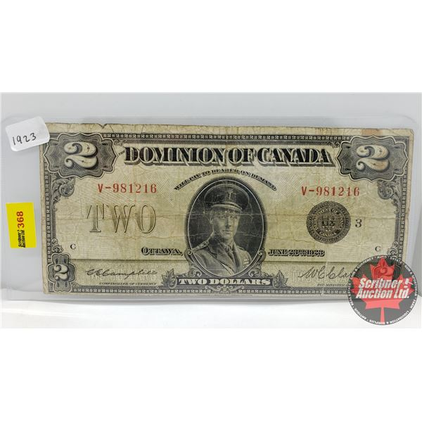 "Dominion of Canada $2 Bill : Campbell/Clark #V981216 ""Horse Blanket"""