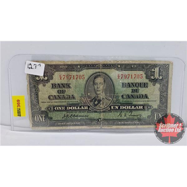 Canada $1 Bill 1937 : Osbourne/Towers #EA7971705
