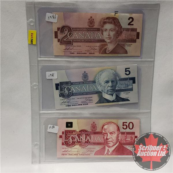 Canada Bills - Sheet of 3 : $2 Bill 1986; $5 Bill 1986; $50 Bill 1988 (See Pics for Signatures/Seria