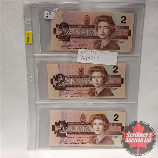 Canada $2 Bills - Sheet of 3 Consecutive Replacements (X) : Bonin/Thiessen #EBX3840541-542-543