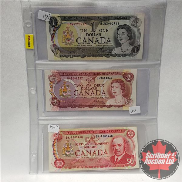 Canada Bills - Sheet of 3: $1Bill 1973; $2 Bill 1974; $50 Bill 1975 (See Pics for Signatures/Serial