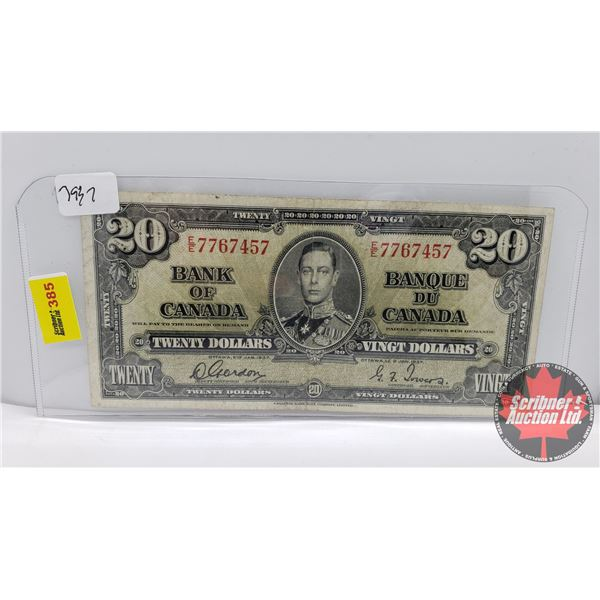 Canada $20 Bill 1937 : Gordon/Towers #EE7767457