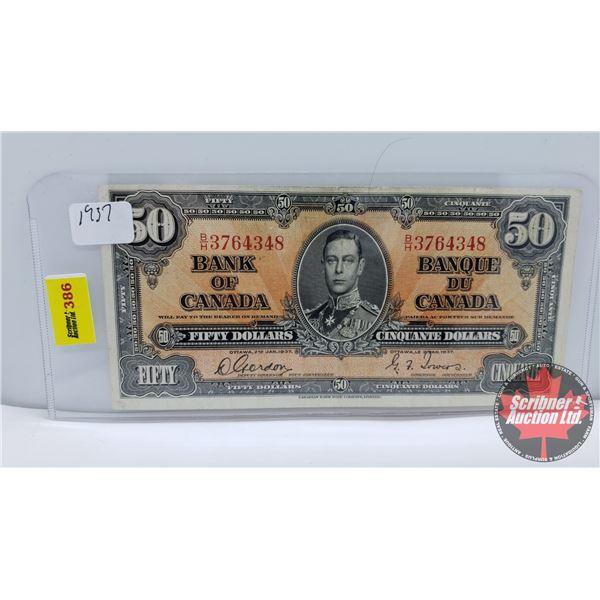 Canada $50 Bill 1937 : Gordon/Towers #BH3764348