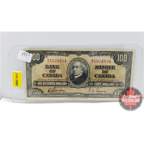 Canada $100 Bill 1937 : Gordon/Towers #BJ1024834