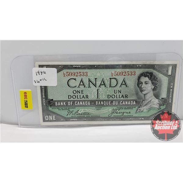 Canada $1 Bill 1954DF : Beattie/Coyne #LA5092533