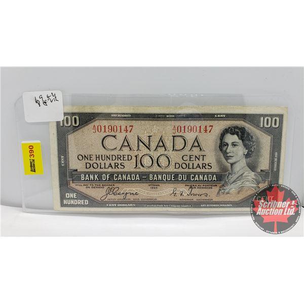 Canada $100 Bill 1954DF : Coyne/Towers #AJ0190147