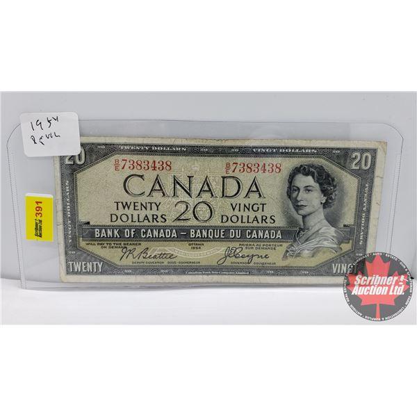 Canada $20 Bill 1954DF : Beattie/Coyne #BE7383438
