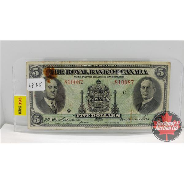 The Royal Bank of Canada $5 Bill 1935 : Dobson/Wilson #810087