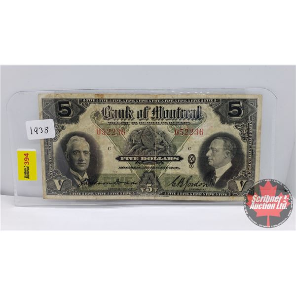 Bank of Montreal $5 Bill 1938 : C.B. Gordon #052236