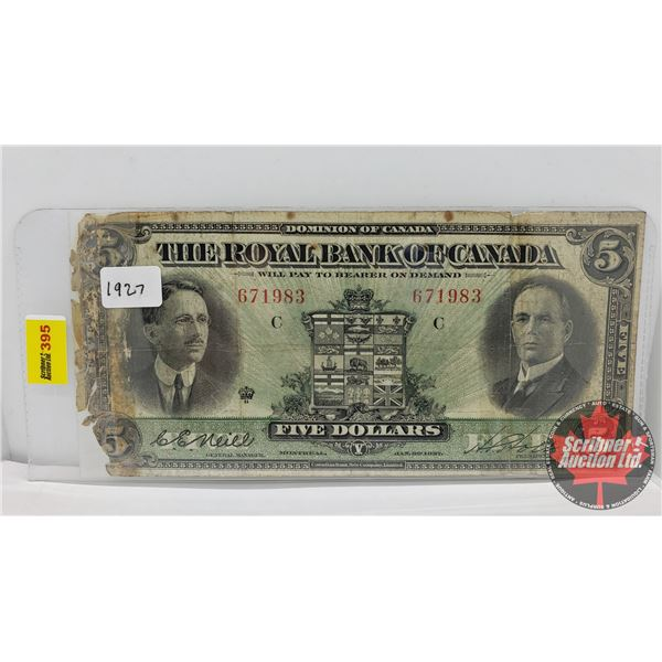 The Royal Bank of Canada $5 Bill 1927 : H.S. Holt #671983