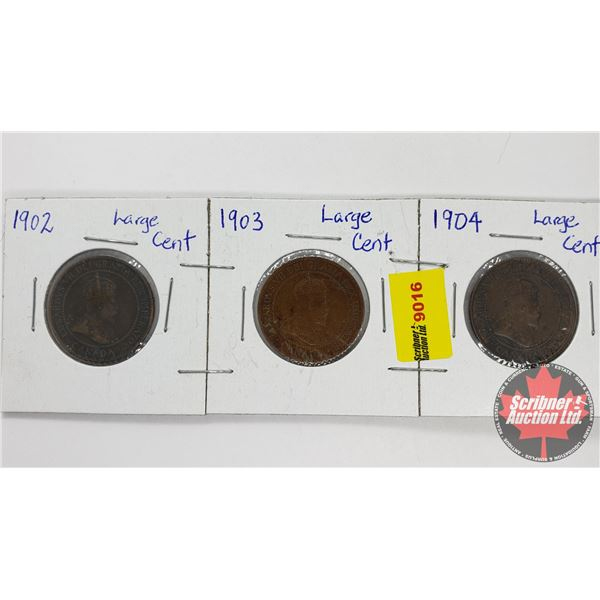 Canada Large Cent - Strip of 3: 1902; 1903; 1904