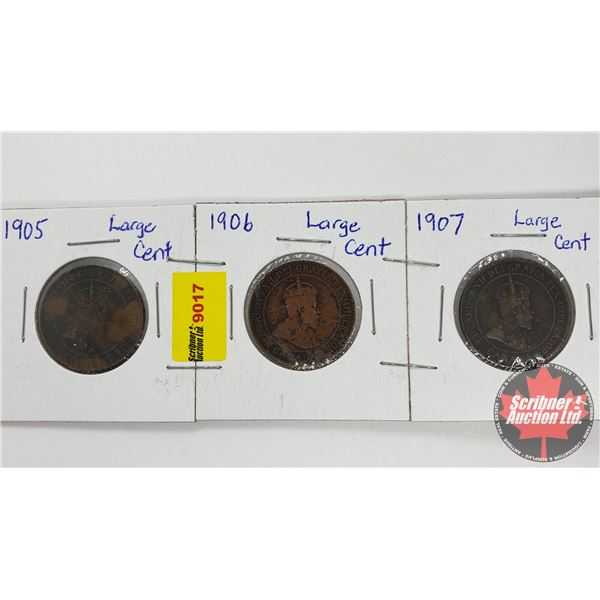 Canada Large Cent - Strip of 3: 1905; 1906; 1907