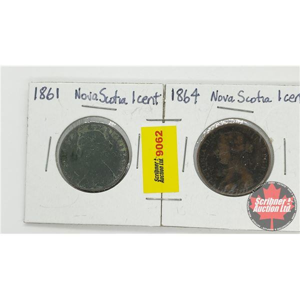 Nova Scotia One Cent - Strip of 2: 1861; 1864