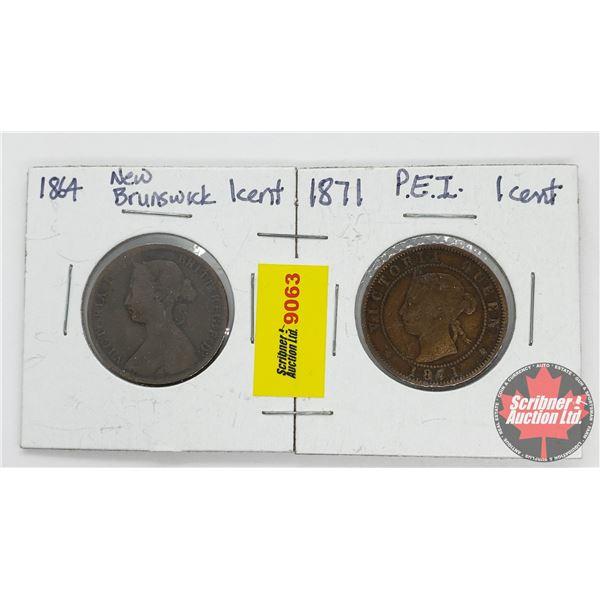 One Cent - Strip of 2: 1864 New Brunswick ; 1871 PEI