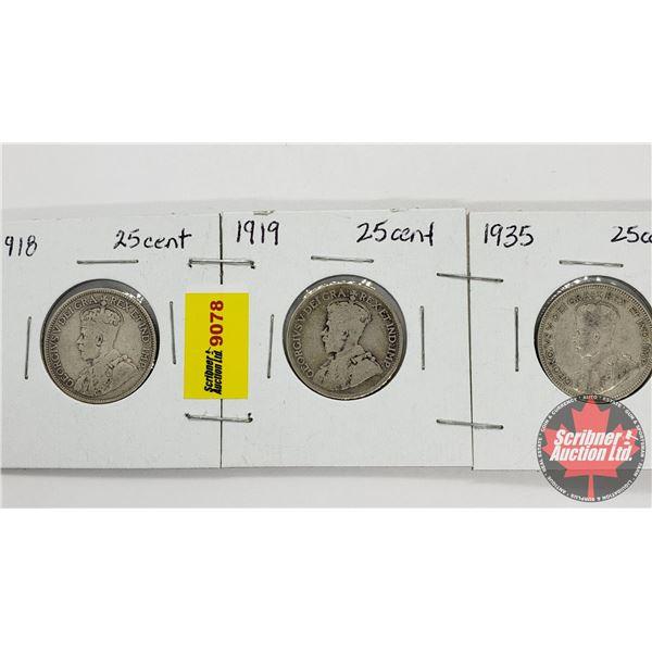 Canada Twenty Five - Strip of 3: 1918; 1919; 1935