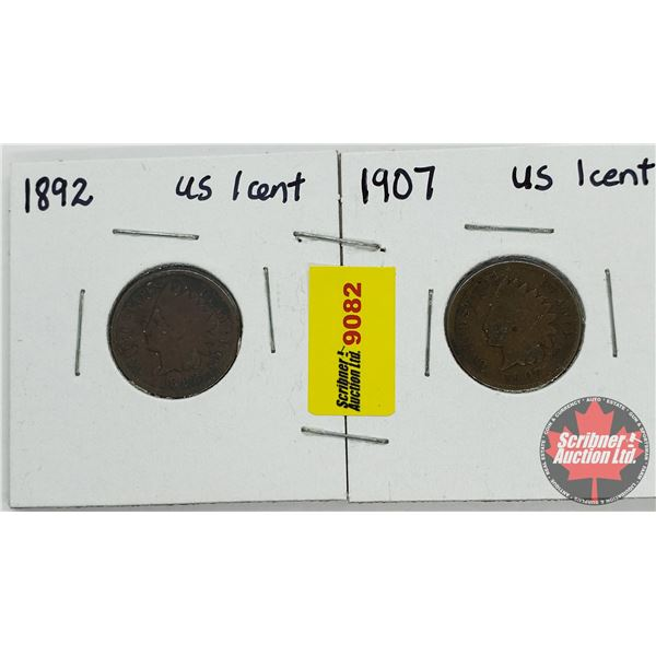USA One Cent - Strip of 2: 1892; 1907