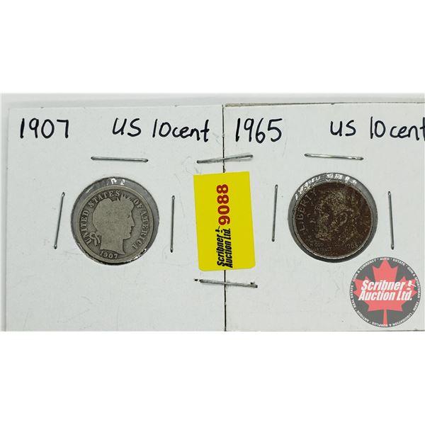USA Dime - Strip of 2: 1907; 1965