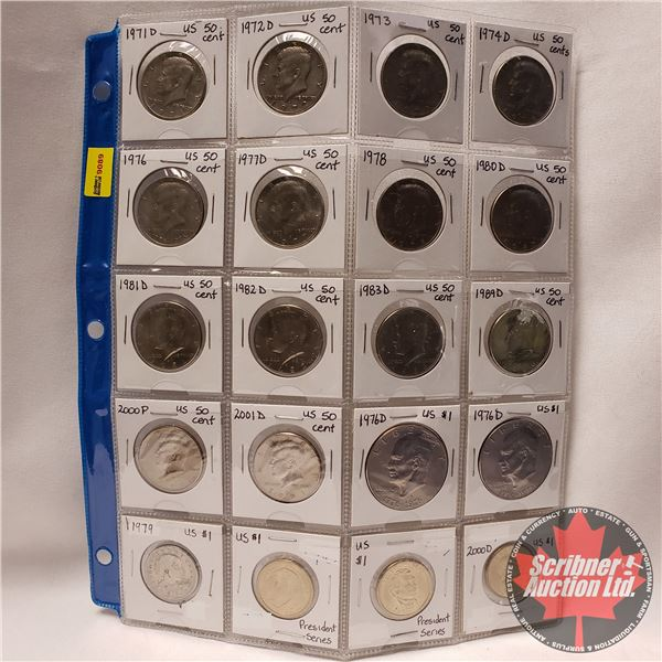USA Coinage - Sheet of 20: (Fifty Cent & One Dollar) Variety (See Pics)
