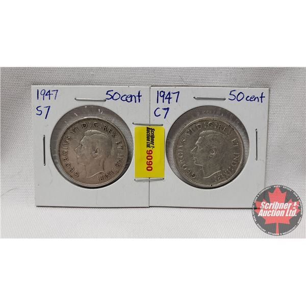 Canada Fifty Cent - Strip of 2: 1947 S7 & 1947 C7