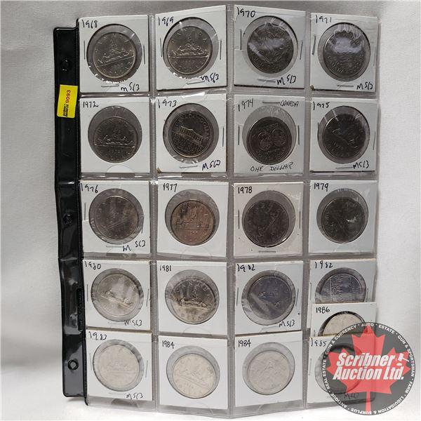 Canada One Dollar - Sheet of 21: 1968; 1969; 1970; 1971; 1972; 1973; 1974; 1975; 1976; 1977; 1978; 1