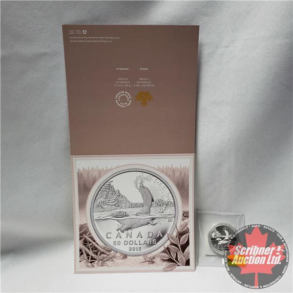 "RCM 2015 Canada $50 Fine Silver Coin ""Beaver"" (99.99%)"