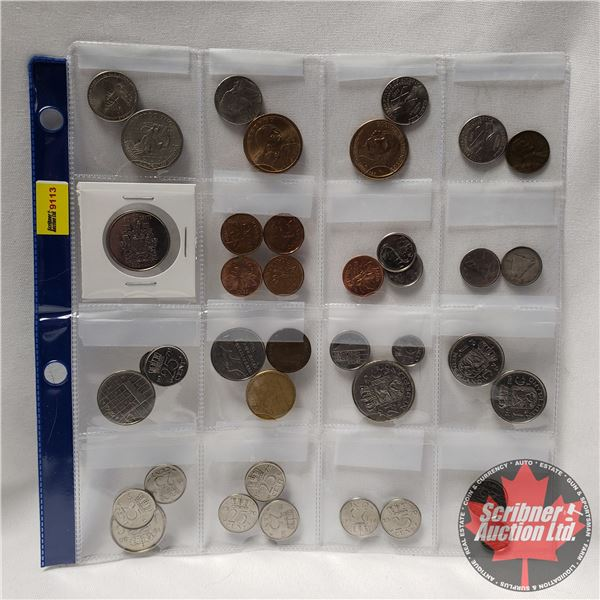 Variety of Coins - Domestic & Foreign (Sheet of 39) (See Pics for Varieties)