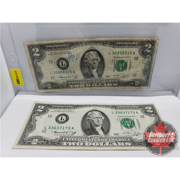 USA $2 Bills (2) : 1976; 1976 (See Pics for Signatures/Serial Numbers)