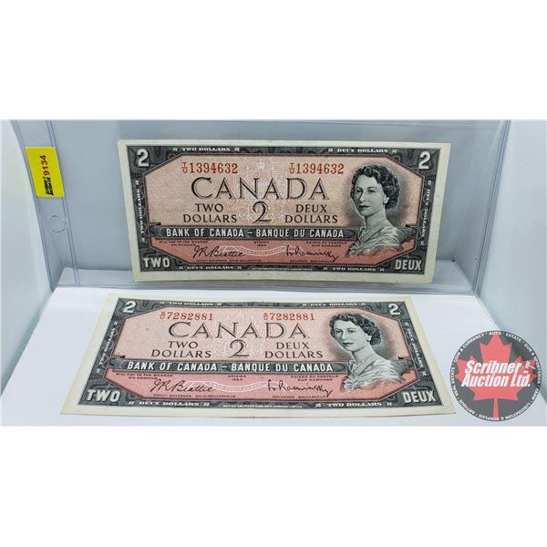 Canada $2 Bills 1954 (2): Beattie/Rasminsky #SU7282881 & #TU1394632