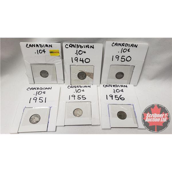 Canada Ten Cent (6): 1938; 1940; 1950; 1951; 1955; 1956