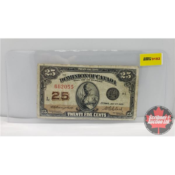 """Dominion of Canada Twenty Five Cent """"Shinplaster"""" 1923 (See Pics for Signatures/Serial Numbers)"""