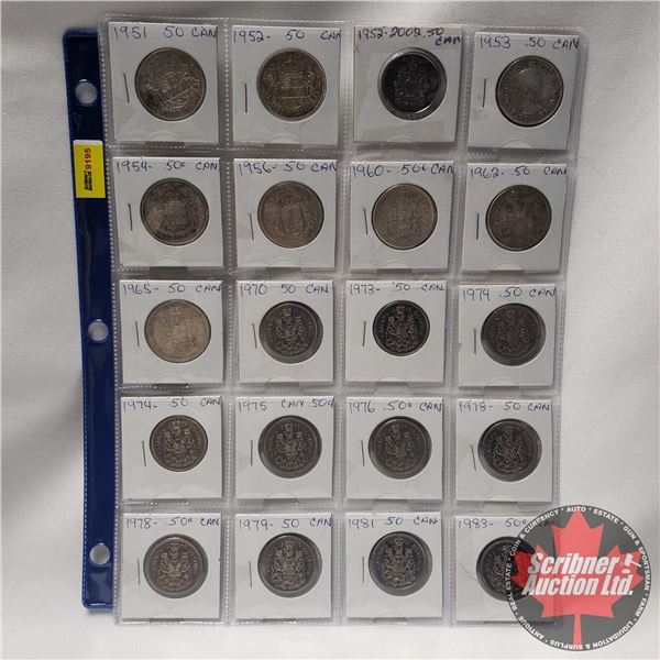 Canada Fifty Cent - Sheet of 20: 1951; 1952; 1952; 1953; 1954; 1956; 1960; 1962; 1965; 1970; 1973; 1