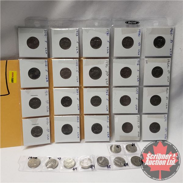 USA Five Cent (29 Coins) : 1964; 1964; 1964; 1971; 1974; 1975; 1977; 1977; 1980; 1986; 1985; 1992; 1