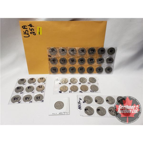 USA Twenty Five Cent Collection (1960's, 1970's, 1980's, 1990's) (47 Coins) See Pics)